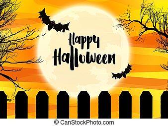 halloween, gespenstisch, landschaftsbild