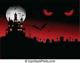 halloween, gespenstisch, szene