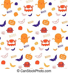 Halloween Ghost Bat Pumpkin Seamless Pattern Background...