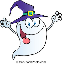 Scaring Ghost Holding His Hands Up And Wearing A Witch Hat