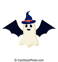 halloween ghost cartoon with witch hat and bat wings vector design