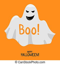 Halloween ghost. Cute smile white ghost spirit vector ...