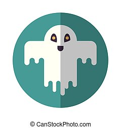 halloween ghost floating character icon vector illustration ...