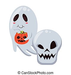 halloween ghost floating with skull head vector illustration...