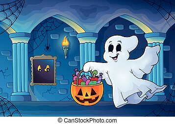 Halloween ghost in haunted castle