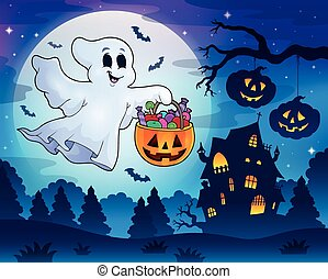 Halloween ghost near haunted house 3 - eps10 vector...