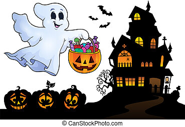 Halloween ghost near haunted house 4 - eps10 vector ...