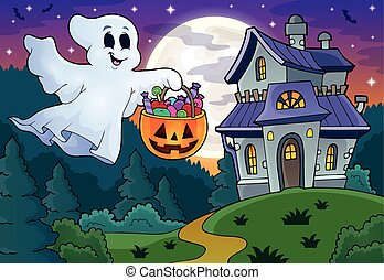 Halloween ghost near haunted house