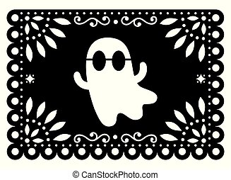 Halloween ghost Papel Picado design, Mexican paper cut out garland background with flowers and geometric shapes