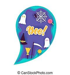 Halloween Ghost Papercut Concept. Vector Illustration. Trick...