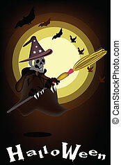 Halloween Ghost Witch on Night Background