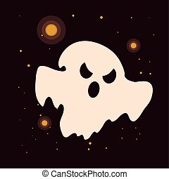 halloween ghost with horror face