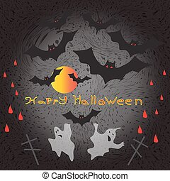 Halloween ghosts and flying against the backdrop of the moon vector illustration