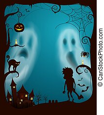 Halloween Ghosts and Night Spooky Cemetery Vector - ...