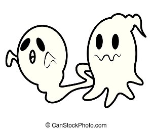 halloween ghosts floating characters icon vector ...