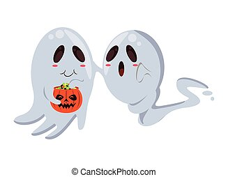 halloween ghosts floating with pumpkin characters vector ...
