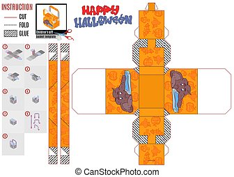 Halloween gift box print template monster phone