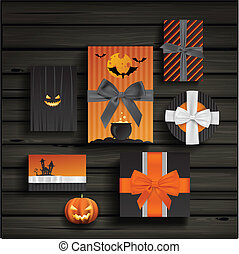 Halloween gifts - Vector set with halloween gifts and bows