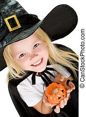 Halloween girl - Portrait of girl in witch costume and small...