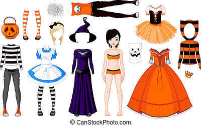 Halloween Girl with costumes - Halloween Paper Doll with...