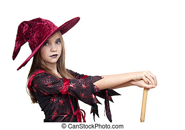 halloween girl with hat on white background
