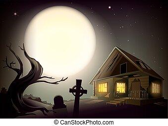Halloween gloomy night landscape