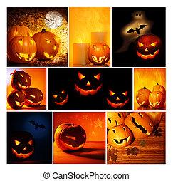 Halloween glowing pumpkins collage