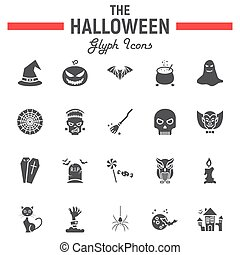 Halloween glyph icon set, scary symbols collection, horror holiday vector sketches, logo illustrations, party signs solid pictograms package isolated on white background, eps 10.
