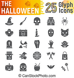 Halloween glyph icon set, spooky symbols collection, vector sketches, logo illustrations, horror signs solid pictograms package isolated on white background, eps 10.
