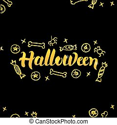 Halloween Gold Lettering over Black
