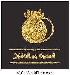 Halloween gold textured cat icon