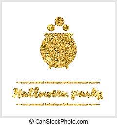 Halloween gold textured pot icon