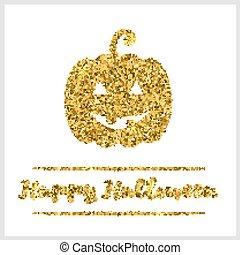 Halloween gold textured pumpkin icon