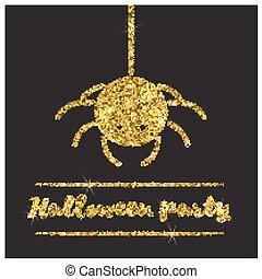 Halloween gold textured spider icon