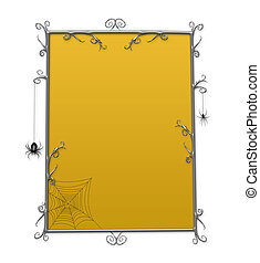 Halloween Goth Checkerboard Frame With Spiders