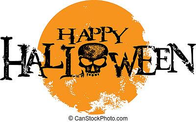 halloween, gráfico, grunge, feliz