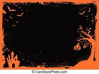 halloween, gräns, bakgrund, mall, element