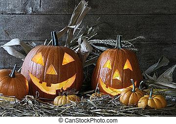 halloween, granero, calabazas