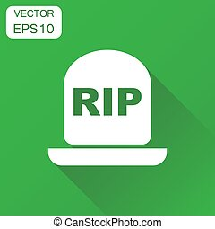 Halloween grave icon. Business concept gravestone pictogram....
