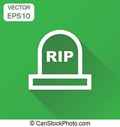 Halloween grave icon. Business concept gravestone pictogram....