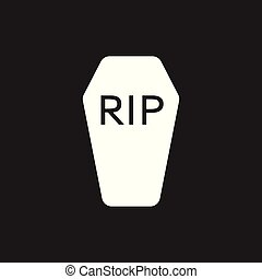 Halloween grave icon. Gravestone vector illustration. Rip...