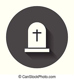 Halloween grave icon. Gravestone vector illustration. Rip...