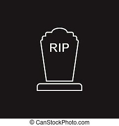 Halloween grave icon in line style. Gravestone vector...