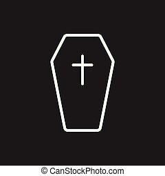 Halloween grave icon in line style. Gravestone vector...