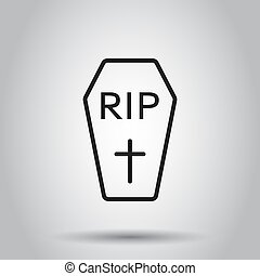 Halloween grave icon in line style. Vector illustration on...