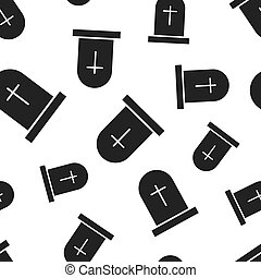 Halloween grave seamless pattern background. Business flat...