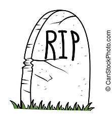 Halloween Gravestone Vector - Drawing Art of Rest in Peace -...
