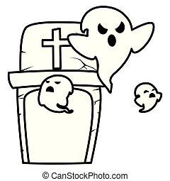 halloween gravestone with ghosts