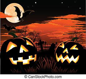 A graveyard, bats and pumpkin Halloween background
