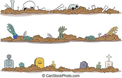 Halloween Graveyard Borders - Border Illustration of a...